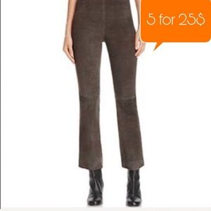 Styleworks 100% Leather Brown Cropped Pants
